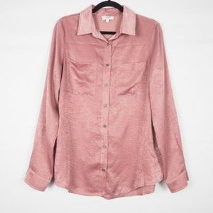 Umgee Long Sleeve Button Front Collar Top Pink M
